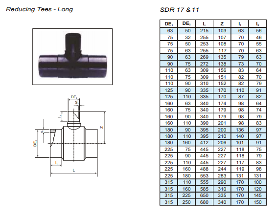 Reducing tees - long specifications